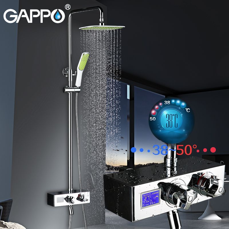 GAPPO luxury bathroom smart shower head thermostatic rainfall shower set thermostatic mixing valve shower system