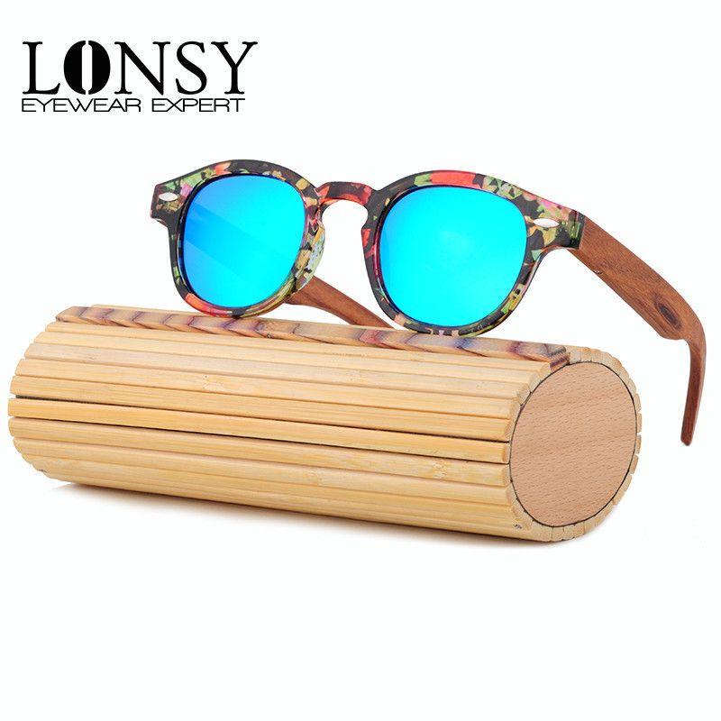 LONSY fait à la main Original rond bambou lunettes de soleil femmes marque de luxe Designer bois lunettes de soleil polarisées hommes oculos de sol feminino