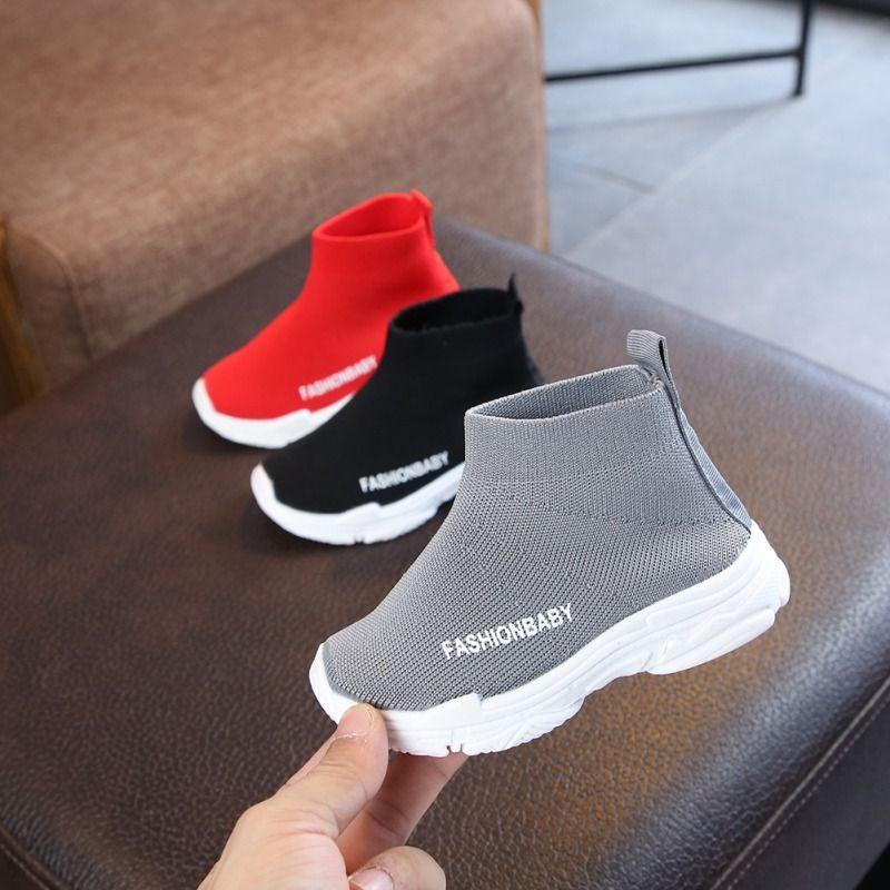 Enfants chaussures décontractées filles Sneaker pour courir garçons chaussures décontractées en plein air Anti-glissante mouche tricot enfants chaussettes chaussure Sneaker 1-6Y