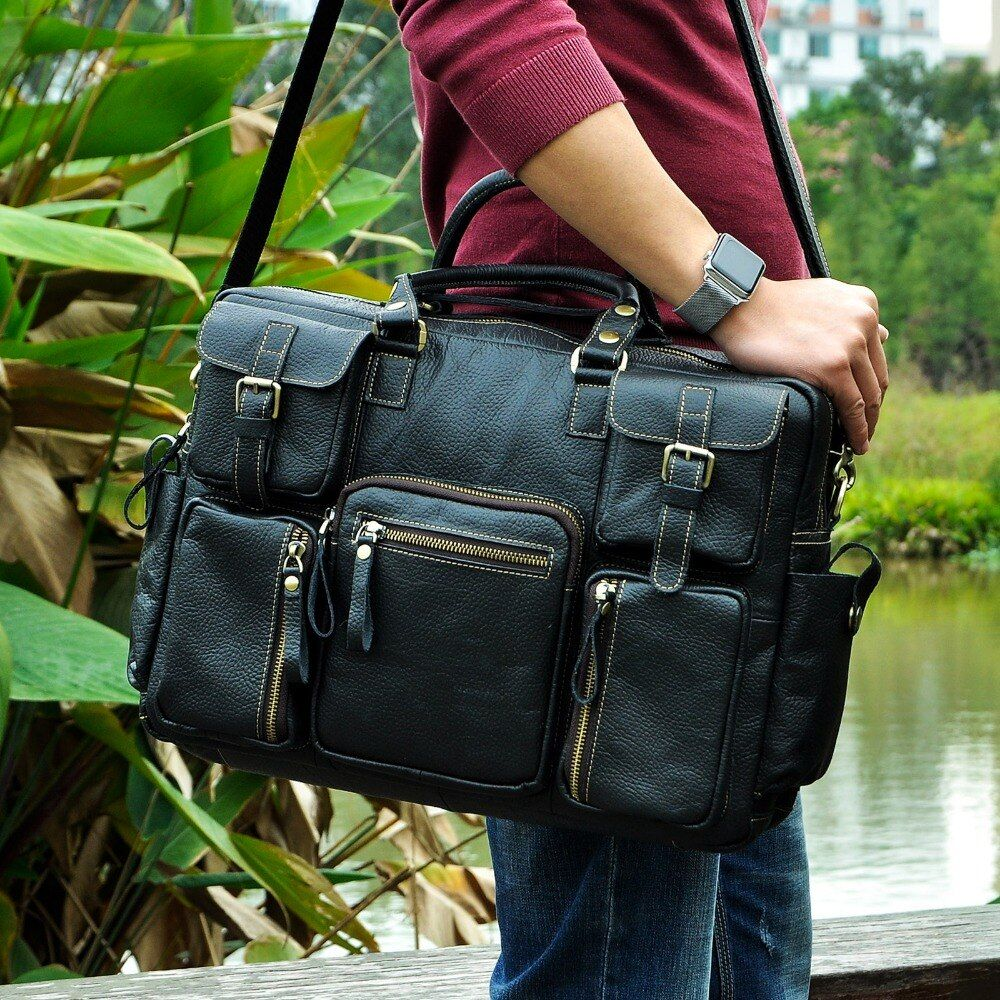 Men Real Leather Antique Large <font><b>Capacity</b></font> Travel Briefcase Business 15.6 Laptop Case Attache Messenger Bag Portfolio 3061b