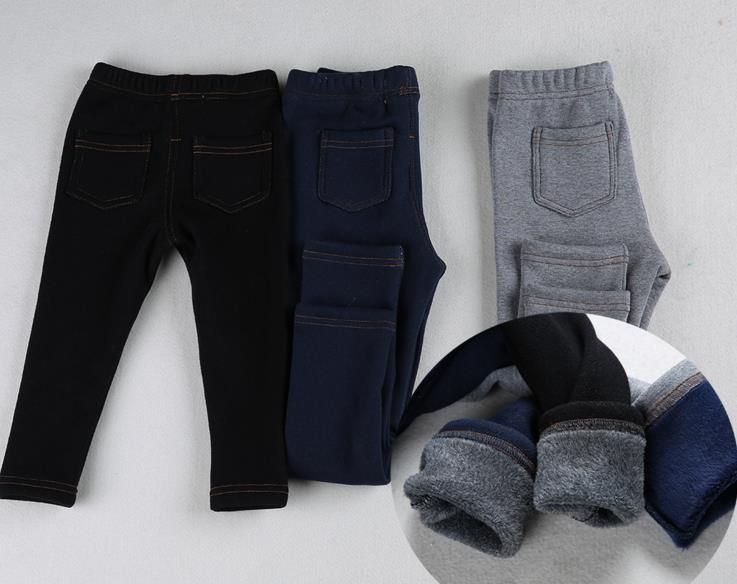 New Fashion Imitation Jeans Boys Winter Pants Straight Thick Elastic Spring Winter Long Trousers For Boys Girls 1-4Y KJ-1592