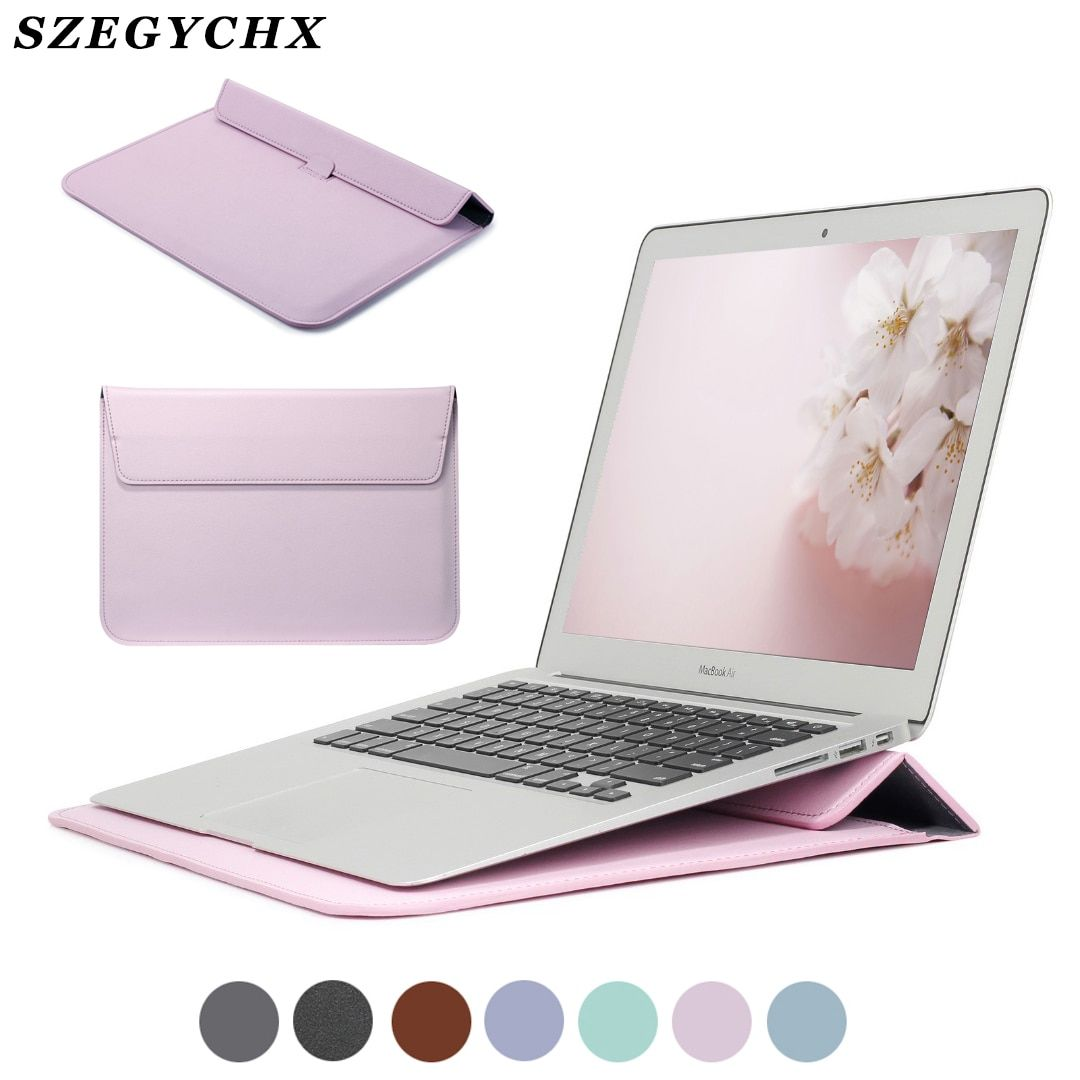Manchon En Cuir PU Sac de Protection Pour Macbook Air 13 Pro Retina 12 15 Ordinateur Portable étui pour Macbook Air 13 A1932 Housse A2159
