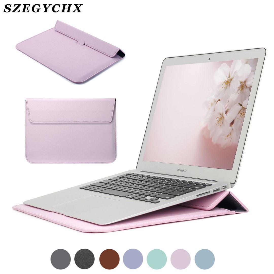 Nouveau cuir manchon protecteur sac Stand couverture pour Macbook Pro 13 touch bar Retina 12 13 15 ordinateur portable étui pour Macbook New Air 13 11