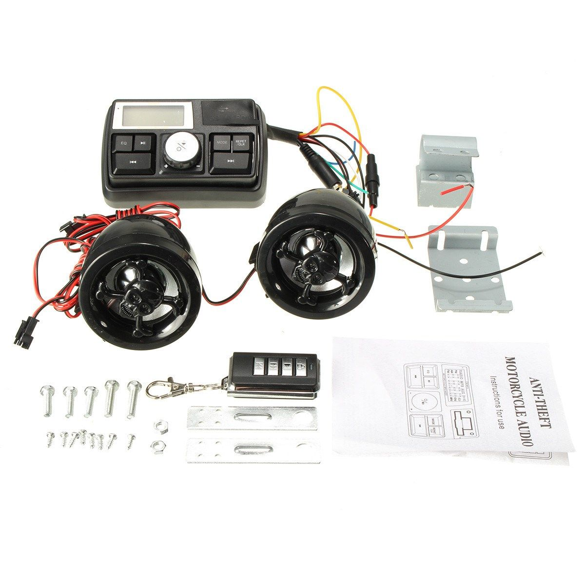 Anti-theft Motorcycle Handlebar Audio System Alarm MP3 Player Speaker FM USB/SD