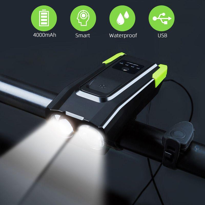 2000mAh 4000mAh lumière de vélo avec corne USB Rechargeable 800 Lumens lumière LED pour vélo vélo lampe frontale