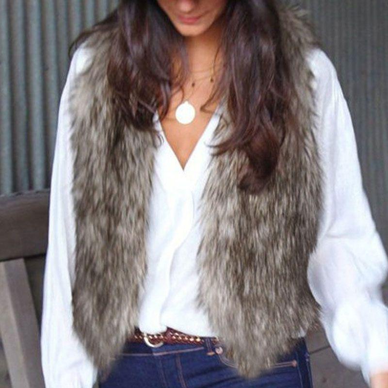 2017 Winter Women Faux Fake Fur Vests Warm Sleeveless Plus Size Vest Jacket Coat Rabbit Fur Waistcoat Outwear colete de pele W1