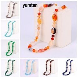 Yumten Beaded Stone Necklace Women Gemstone Choker Natural Crystal Chain Egg Shape Beads Female Charm Accessories Power Jewelry