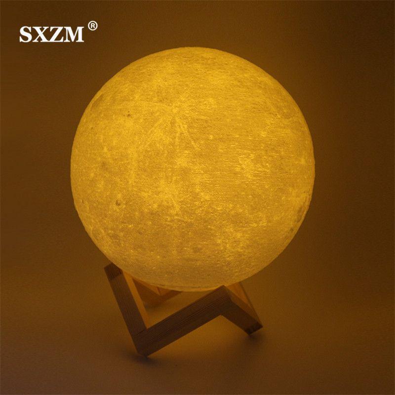 Nuit Lumière 3D Impression Lune Lampe Lunaire USB De Charge Lumière de Nuit Tactile Contrôle Luminosité Deux Tone 8 cm 10 cm 15 cm Dropshipping