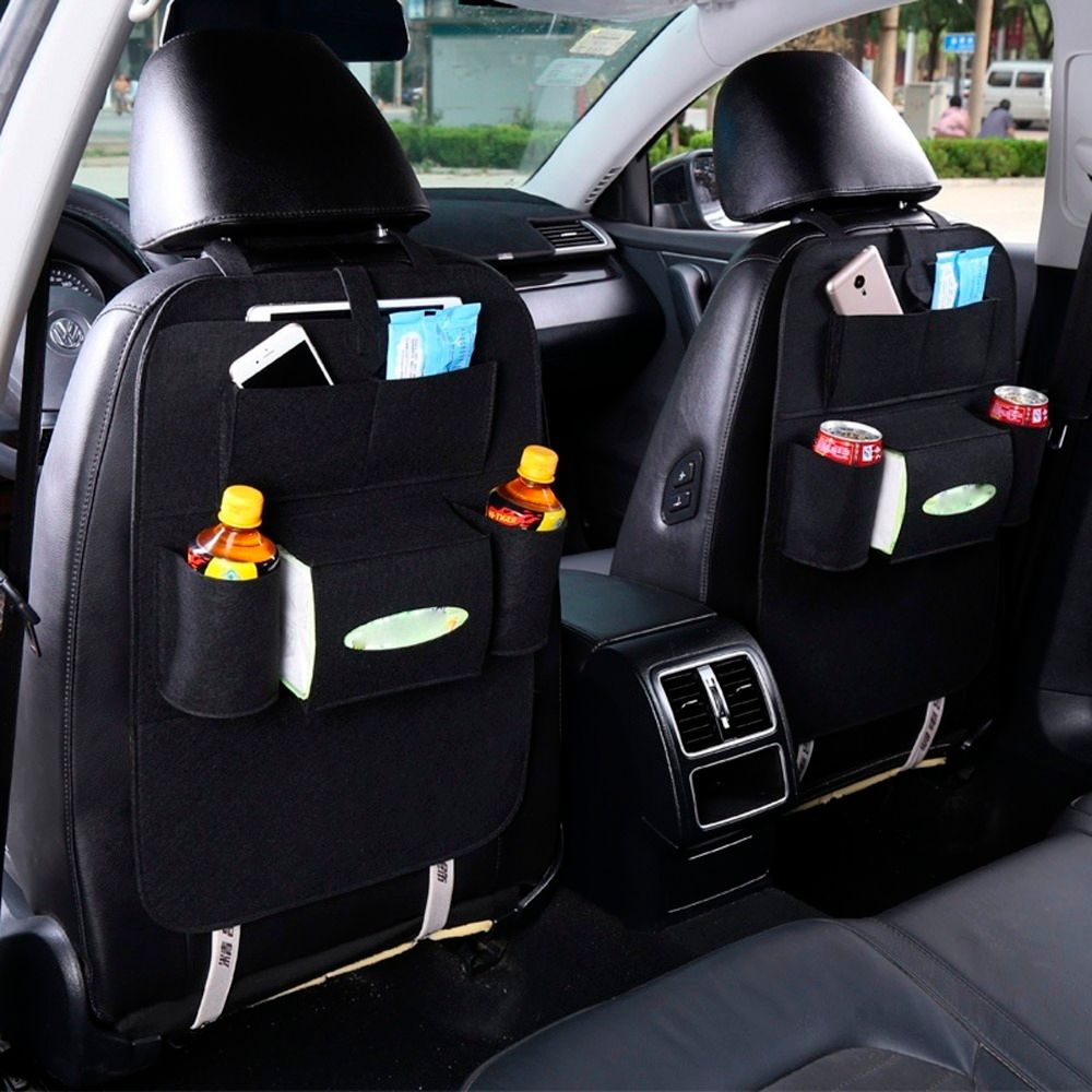 Auto Car Back Seat Organizer Car Felt Covers Automobile Seat Bag Back Insulation Versatile Multi-Pocket Storage Container Bag