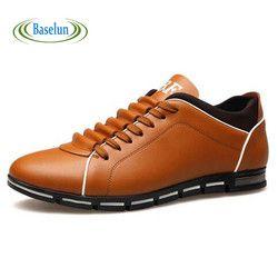 Musim Semi Musim Gugur Baru Inggris Sepatu Kasual Pria Merek Pria Kulit Bernapas Sepatu Solid Fashion Datar untuk Pria