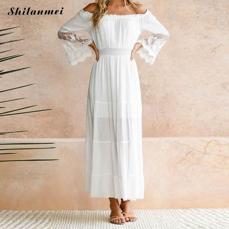 Women Sundress Long Women White Beach <font><b>Dress</b></font> Summer Strapless Long Sleeve Loose Sexy Off Shoulder Boho Lace Maxi <font><b>Dress</b></font> Vestidos