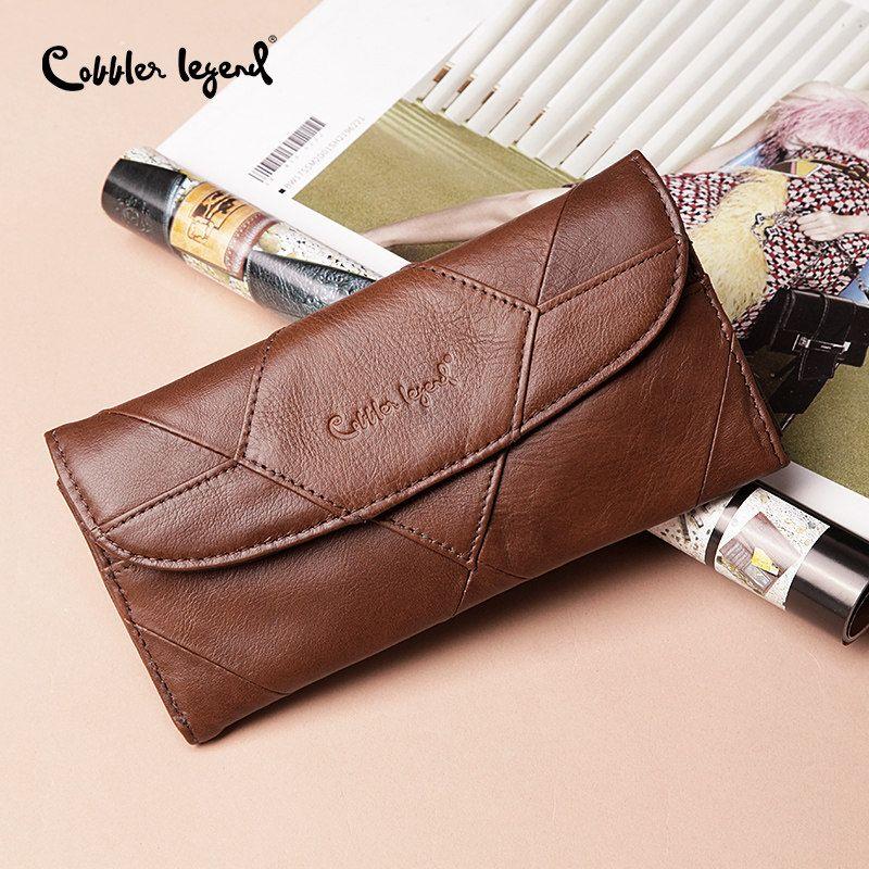 Cobbler Legend Diamonds Patchwork Genuine Leather Wallet Birthday Gift For Women Purse <font><b>Clutch</b></font> Bag Designers Brand Wallet Women