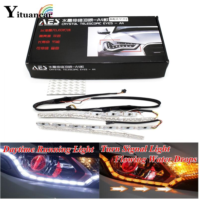 Yituancar 2X Flexible 50CM White/Amber Flowing Water Drops Flash Styling LED Daytime Running Light Turn Signal DRL Car Fog Lamp