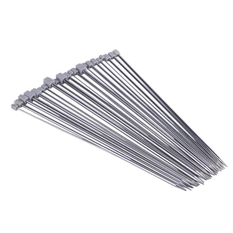 22Pcs 11Sizes 35cm Knitting Needles Stainless Steel Straight Single Pointed Knitting Needles Set for Weave Craft Knitting Tool