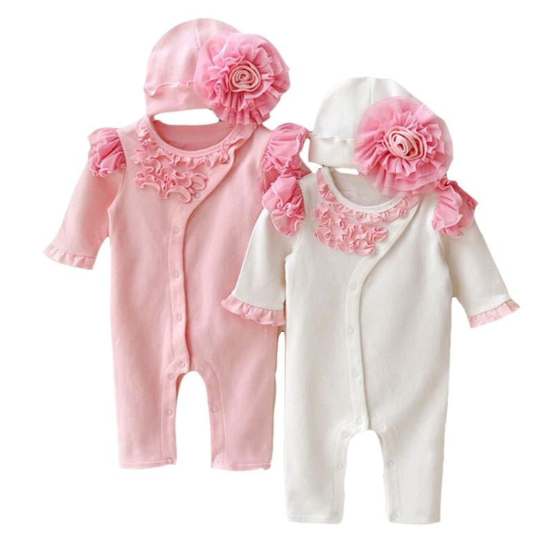 Baby Girls Princess Clothing Lace Long Sleeve Romper Hat Set Lovely Newborn Infant Cotton Jumpsuits Overalls Outerwears