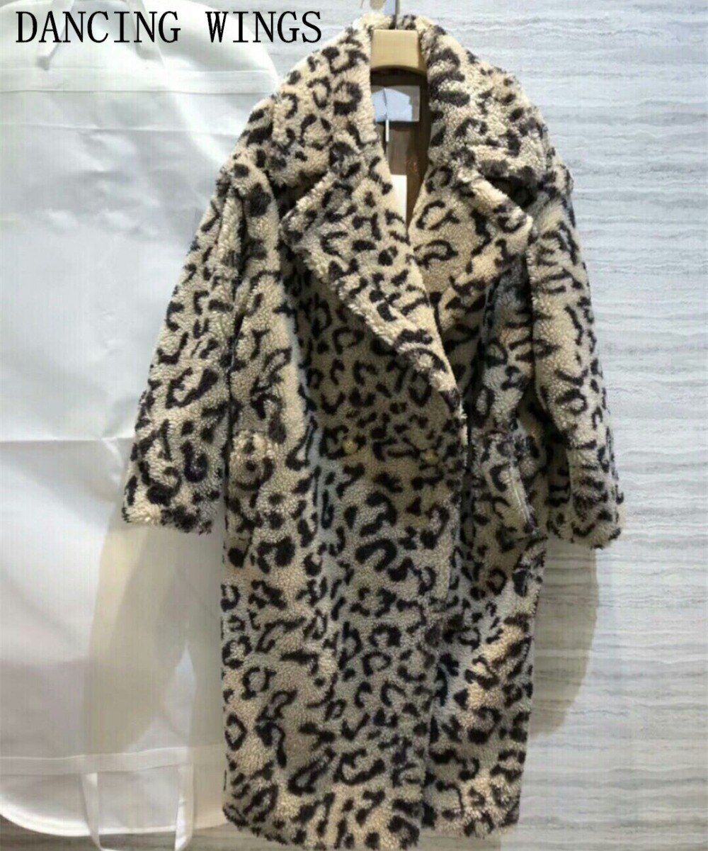 Winter Coat Women 2018 Sexy Women Leopard Loose Teddy Bear Sheep Fur Jacket Female Runway Outwear Coats