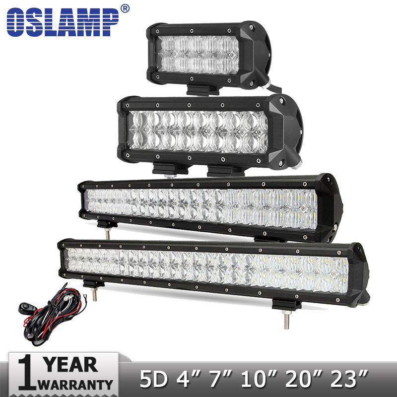 Oslamp 5D 4 7 10 20 23 LED Light Bar Offroad Led Bar Spot Flood Led Work Light Driving Lamp DC12v 24v Truck SUV 4X4 4WD ATV