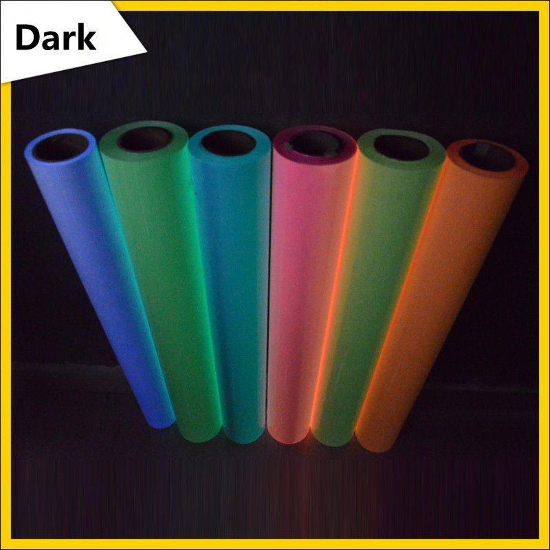 Светящиеся в темноте тепла Пресс Футболка Печать Передача винил разных цветов на выбор 0.5x1 м