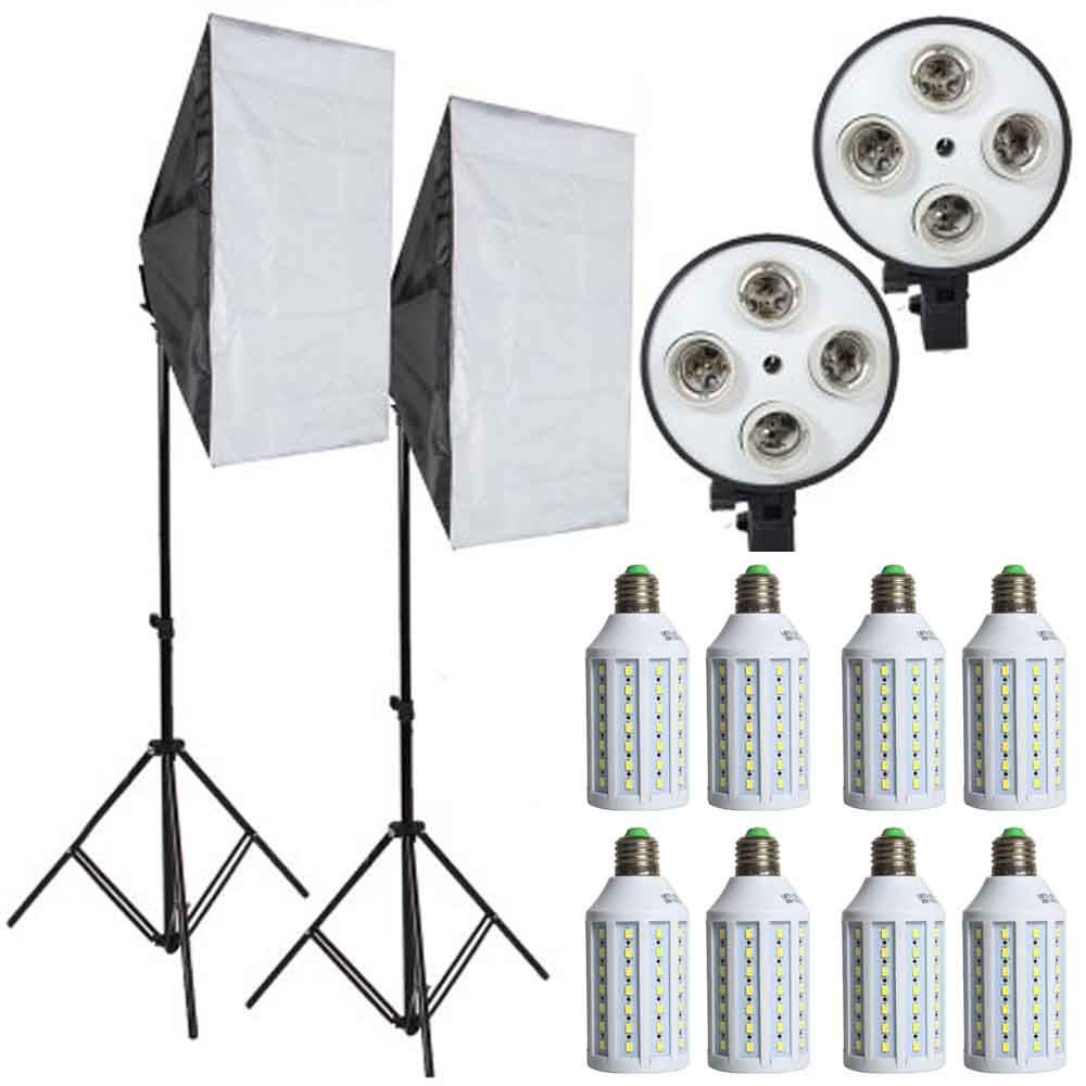 8pcs Led Bulbs Professional Camera Softbox With Light Stand Photographic Equipment For DSLR Photography Studio Lightbox