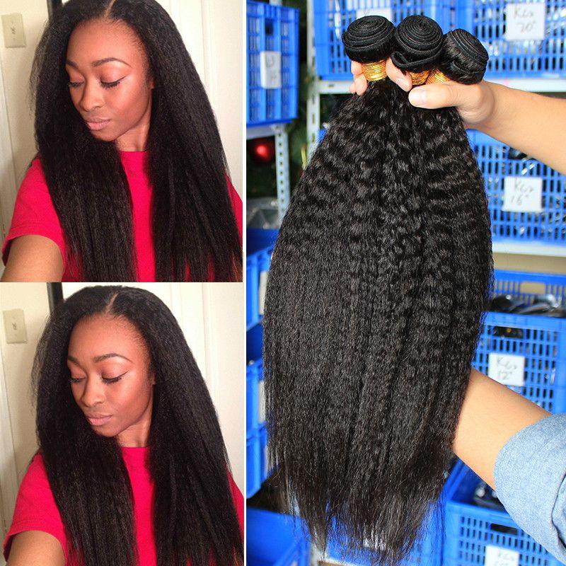 Crépus cheveux droits Brésilienne tissage de cheveux vierges Bundles Grossier Yaki 100% cheveux humains Bundles Dolago Cheveux Produits Extensions