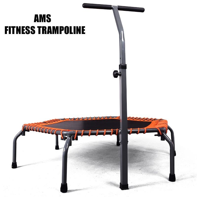 135cm Diameter Exercise Fold Fitness Trampoline With Adjustable Handrail,