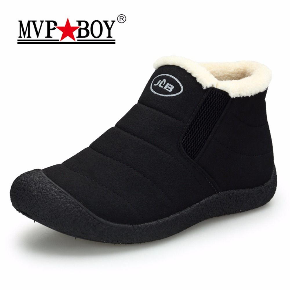 MVP BOY Waterproof Men Winter Shoes Couple Unisex Snow Boots Warm Fur Inside Non-slip Bottom Keep Warm Slip-On Casual Boots Men