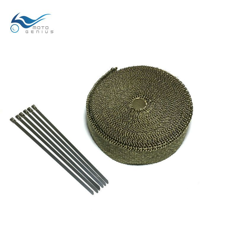 5M  Titanium Exhaust Wrap Lava Fiber Motorcycle Exhaust Heade Heat Wrap Exhaust Pipe Tape With Cable Locking Ties
