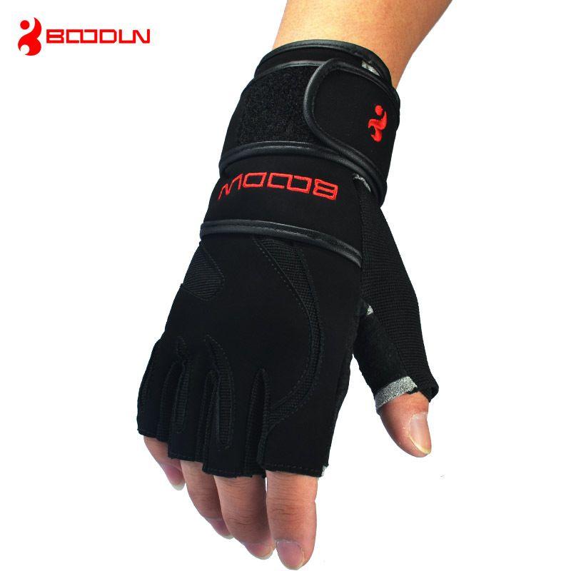 Genuine Leather Men's Half Finger Crossfit Gloves Non Slip Gym Fitness Gloves <font><b>Dumbbell</b></font> Sports Bodybuilding Weight Lifting Gloves
