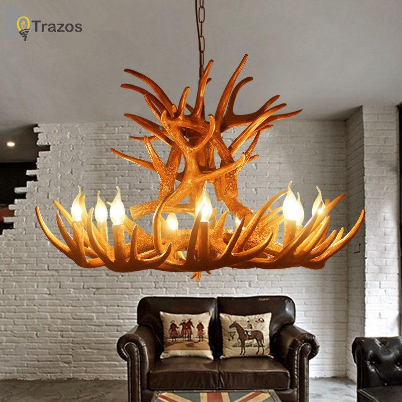 Europe pays 9 tête bougie Antler lustre américain rétro résine cerf corne lampes décoration de la maison éclairage E14 110-240 V