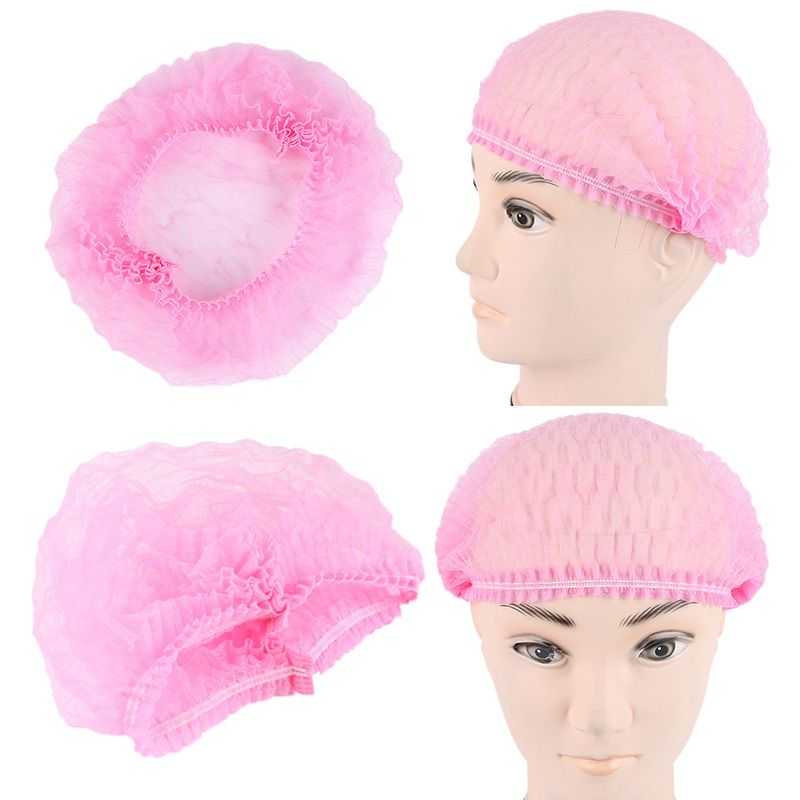 100pcs Pink Disposable Shower Cap Non Woven Disposable Medical Anti Dust Medical Food Head Cover Spa Salon Cap