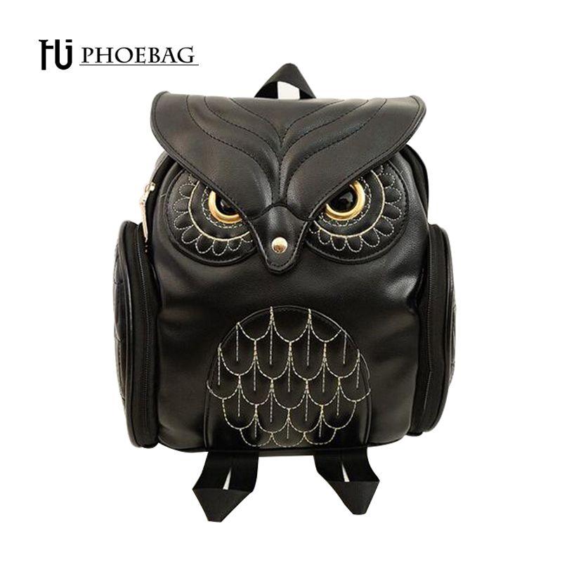 HJPHOEBAG Fashion Women Backpack Newest Cool Black PU Leather Owl Backpack Female Hot Sale Women shoulder bag school bags A07