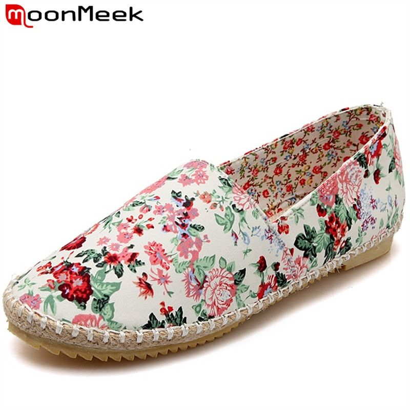 MoonMeek Fashion rural style loafers shoes women flats large size 34-43 single shoes woman floral canvas spring shoes