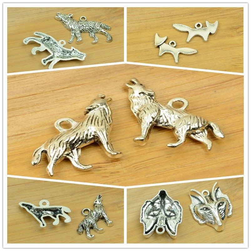 wolf/fox alloy pendant man charm hot punk folk animal antique silver choker DIY jewerly accessoriesmaking findings free shipping