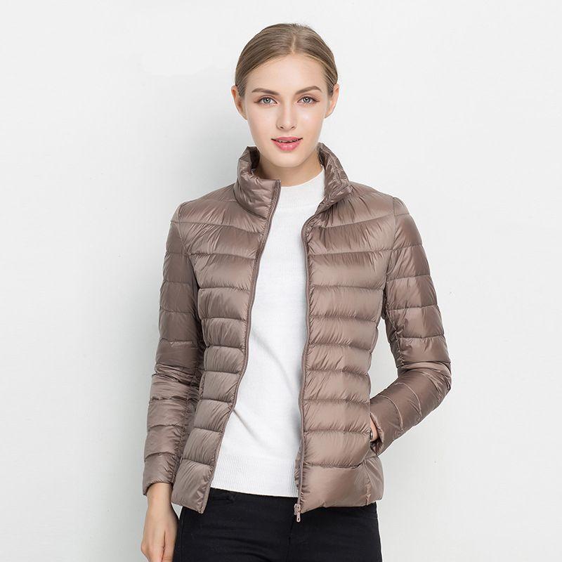 Women Winter Coat 2018 New Ultra Light <font><b>White</b></font> Duck Down Jacket Slim Women Winter Puffer Jacket Portable Windproof Down Coat