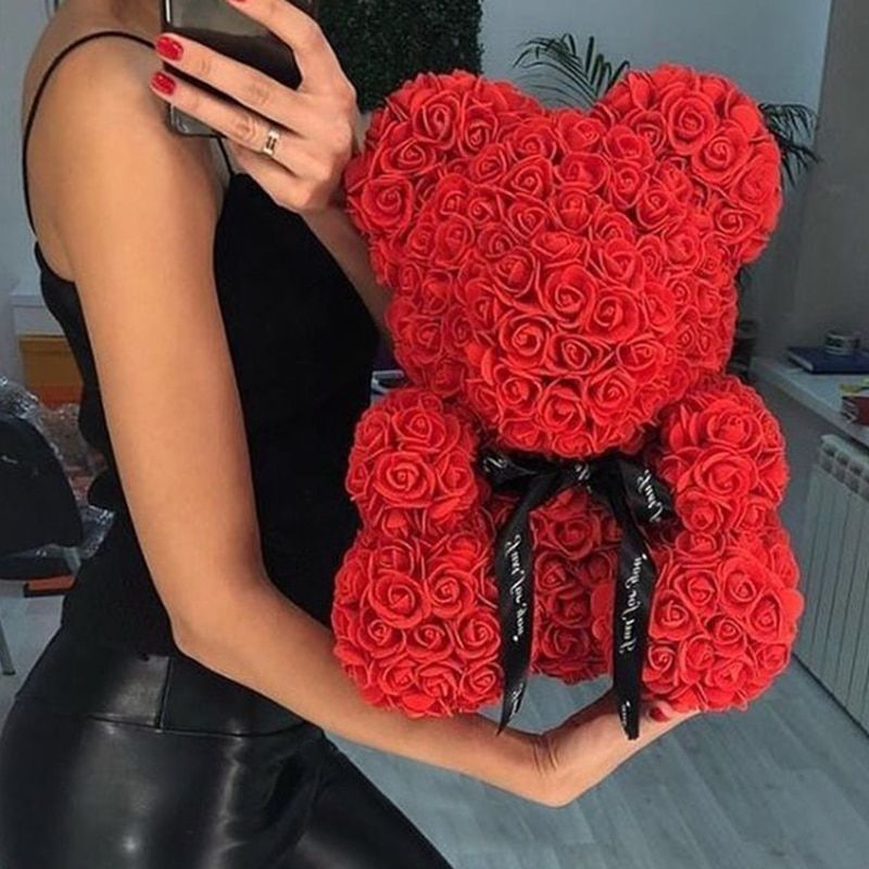 2019 Hot Sale 25cm 40cm Soap Foam Bear of Roses Teddy Bear Rose Flower Artificial New Year Gifts for Women Valentines Gift