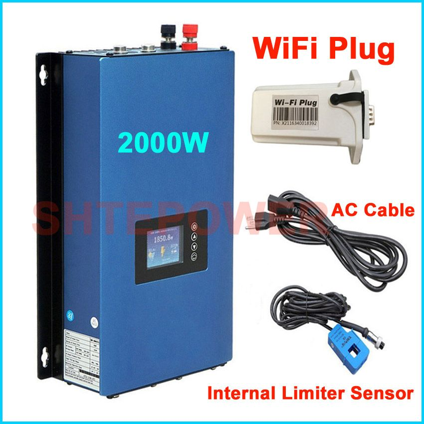 2KW MPPT Grid Tie Inverter Solar Power invertor DC 45-90V input to AC output with new generator wifi plug&inter limiter