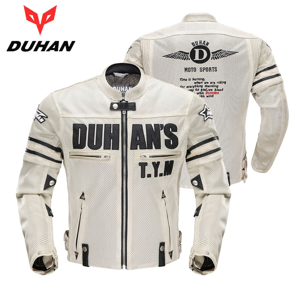 DUHAN Motorcycle Jacket Men's Breathable Mesh Racing Patrol with Removable Protector Summer Moto Jacket Riding Jaqueta Clothing