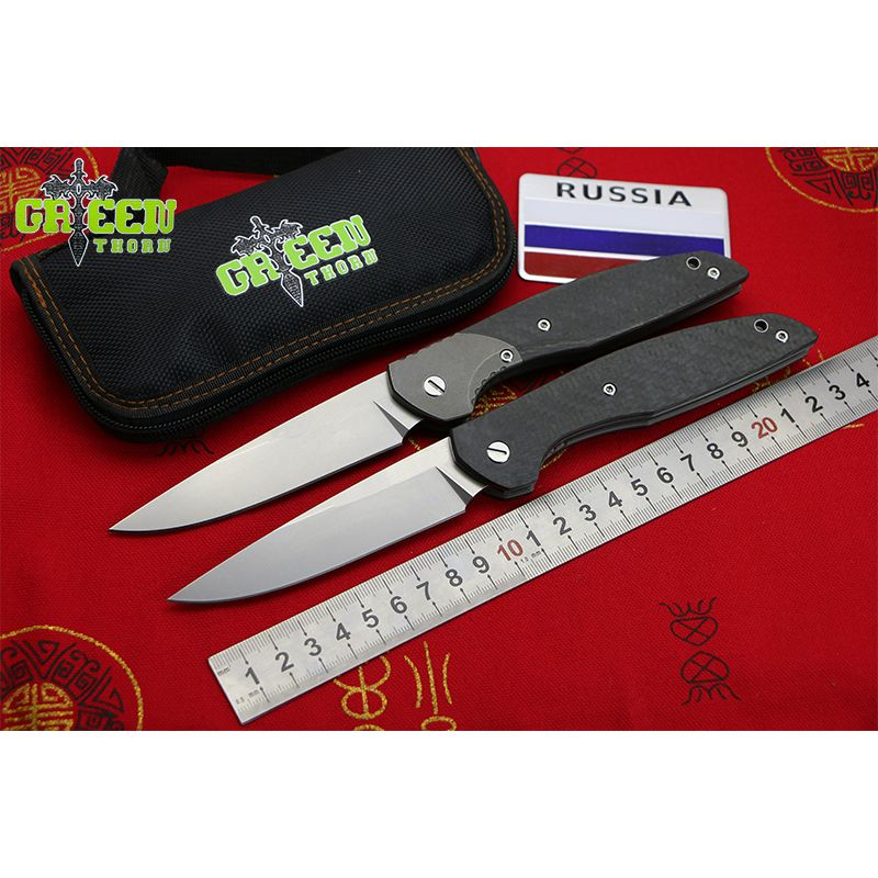 GREEN THORN 110T AXIS M390 blade CF+Titanium handle Flipper folding knife outdoor camping hunting pocket fruit knive EDC tool