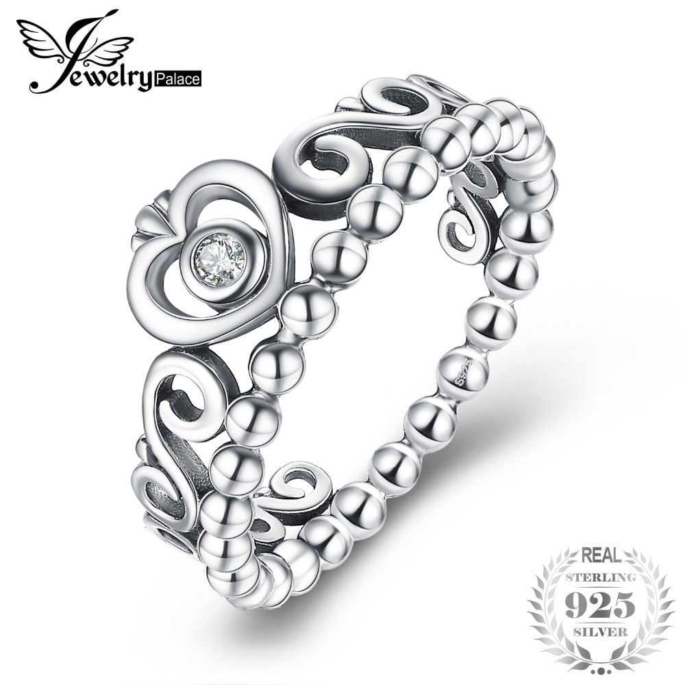 JewelryPalace Vintage 925 Sterling Silver Princess Crown Cubic Zirconia Ring Beautiful Gifts For Women 2018 New Hot