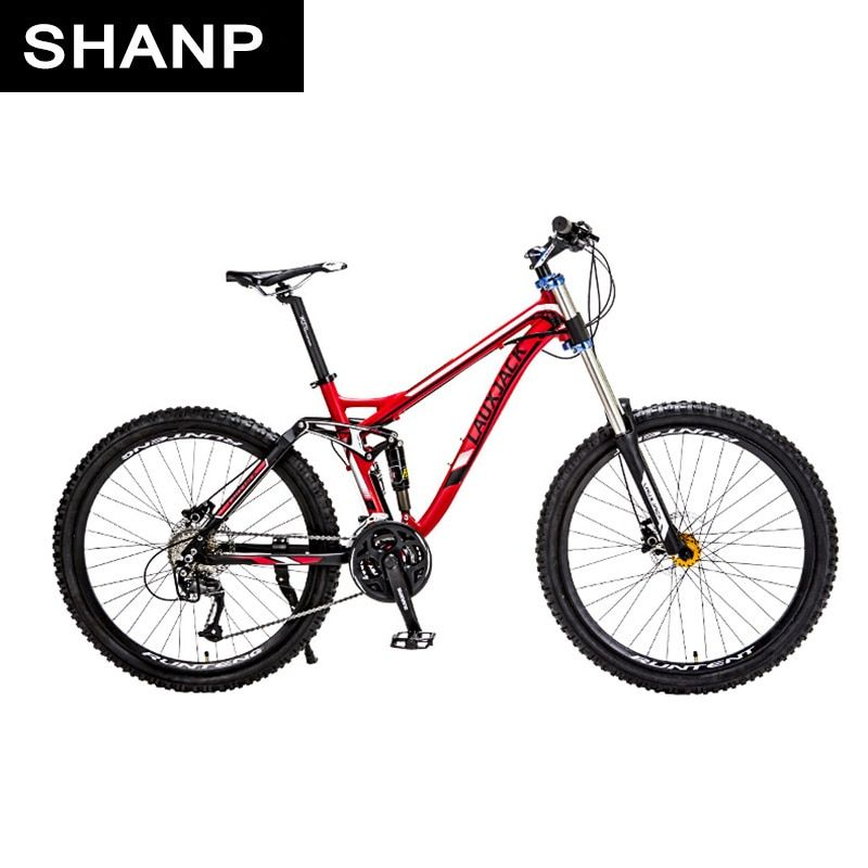 LAUXJACK Mountain Bike Full Suspension Aluminum Frame 24/27 Speed Hydraulic/Mechanic Brake 26