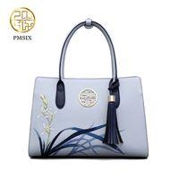 Pmsix nuevos bolsos de moda para las mujeres flores bordado borla de cuero de vaca bolsos azul señoras bolso sólido bolsos clásicos