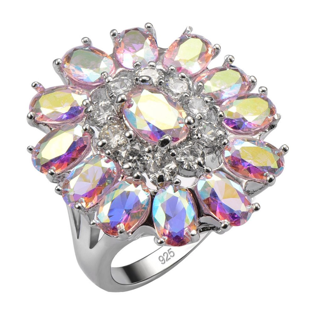 Exquisite Pink Rainbow Crystal Zircon925 Sterling Silver Good Quality Ring Beautiful Jewelry Size 6 7 8 9 10 11 12 F1540