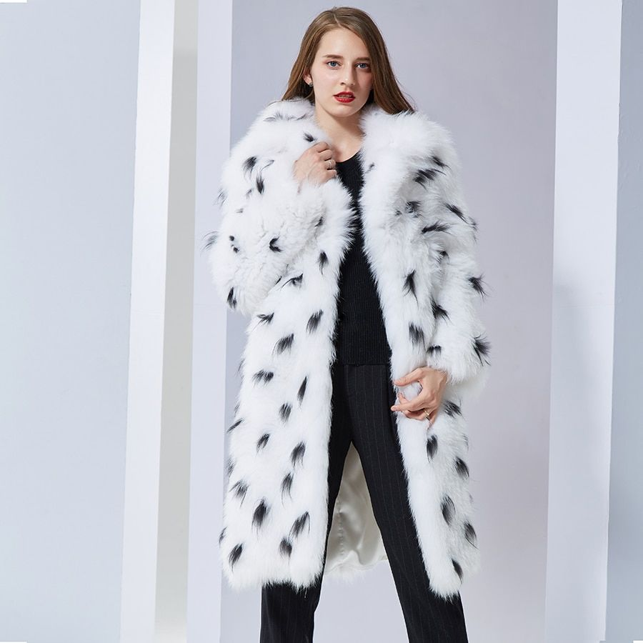 Luxurious Natural Real Fox Fur Coat turn down collar long soft warm autumn winter new style Fur Coat Fur Jacket