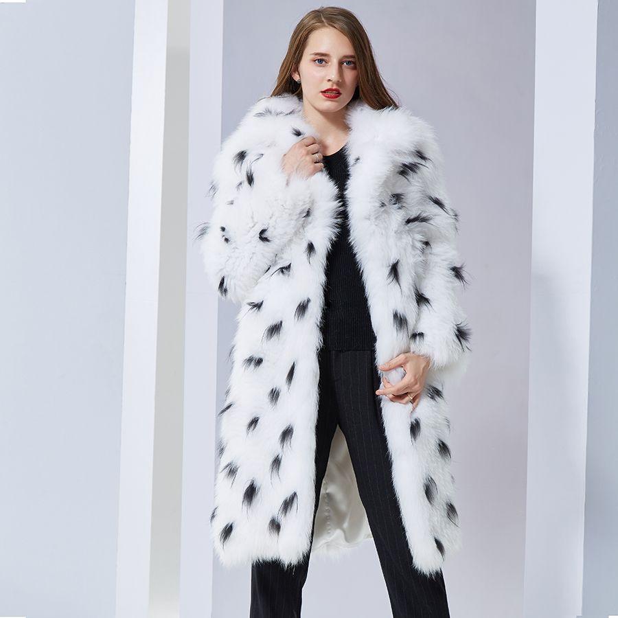 Luxurious Natural Real Fox Fur Coat turn down collar long soft warm autumn winter new style Fur Coat Fur Jacket