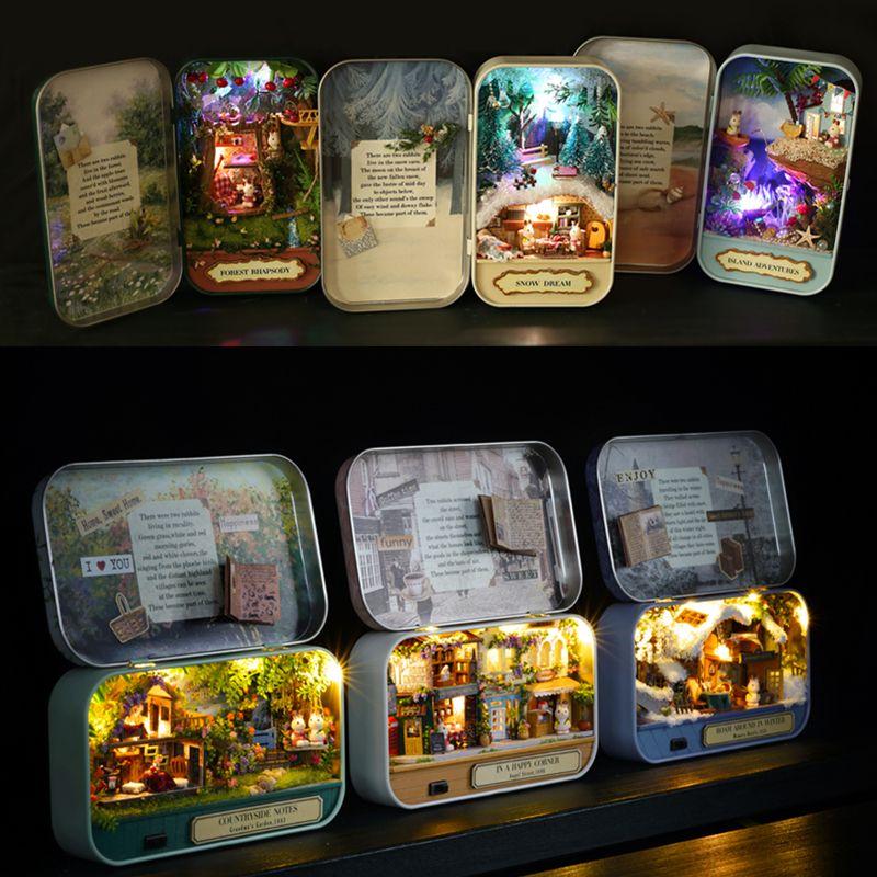 Box Theatre Nostalgic Theme Miniature Scene Wooden Miniature Puzzle Toy DIY Doll House Furnitures Countryside Notes Q Series #E