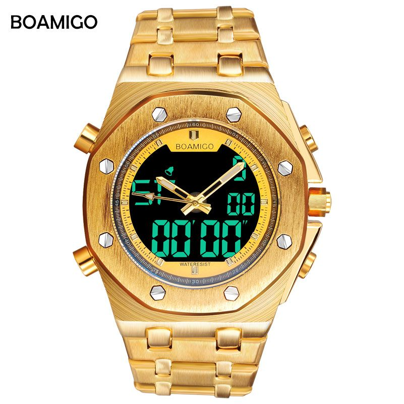 BOAMIGO brand men sport watch analog digital quartz wrist watches gold steel male gift clock Relogio Masculino erkek kol saati