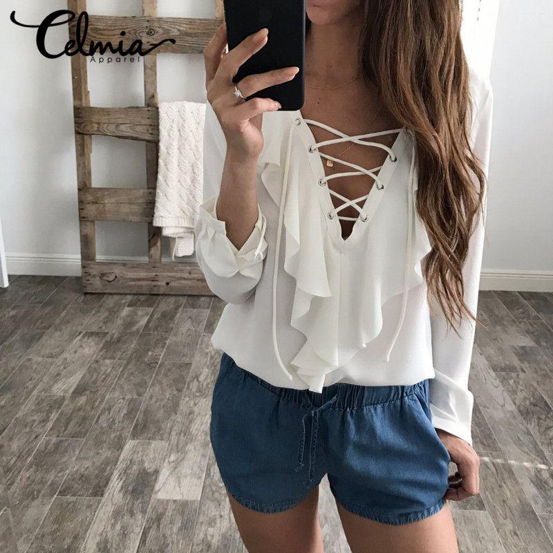 2018 moda Primavera Verano mujeres Blusa de gasa sexy Encaje V Masajeadores de cuello Ruffles manga larga negro blanco Tops ocasional más camisa del tamaño
