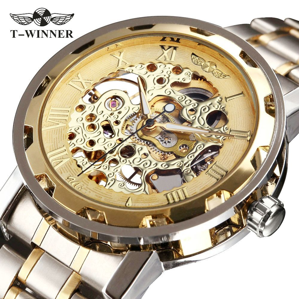 WINNER Golden Watches Men Skeleton <font><b>Mechanical</b></font> Watch Stainless Steel Strap Top Brand Luxury T-WINNER Classic Wristwatch 17 COLORs