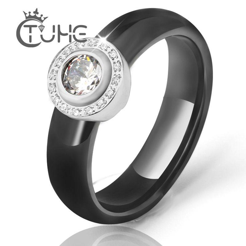 Hot blanc gros cristal anneaux de mariage 6mm noir blanc en céramique anneaux pour les femmes en acier inoxydable cercle anneau de mariage bijoux cadeau