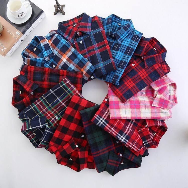 2018 printemps nouvelle marque femmes Blouses à manches longues coton flanelle Plaid chemises décontracté grande taille chemise Blusas Feminina 20 couleur